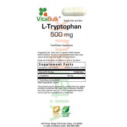 L-Tryptophan 500 mg Capsule - 100 Count Bag