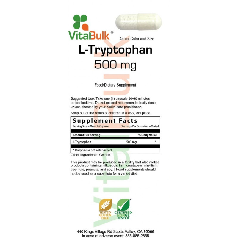 L-Tryptophan 500 mg Capsule - 100 Count Bag
